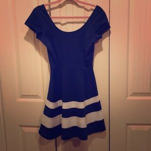 Navy blue dress with wide flare